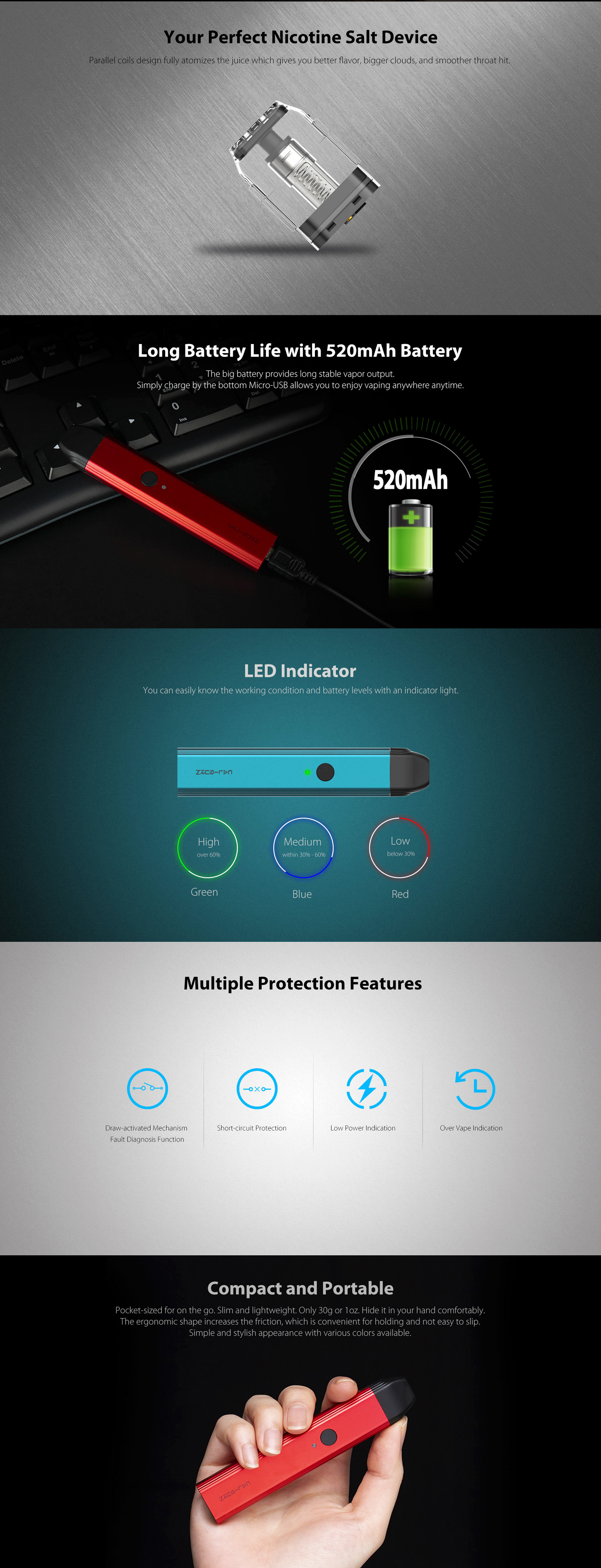 Uwell Caliburn TPD Pod System Kit
