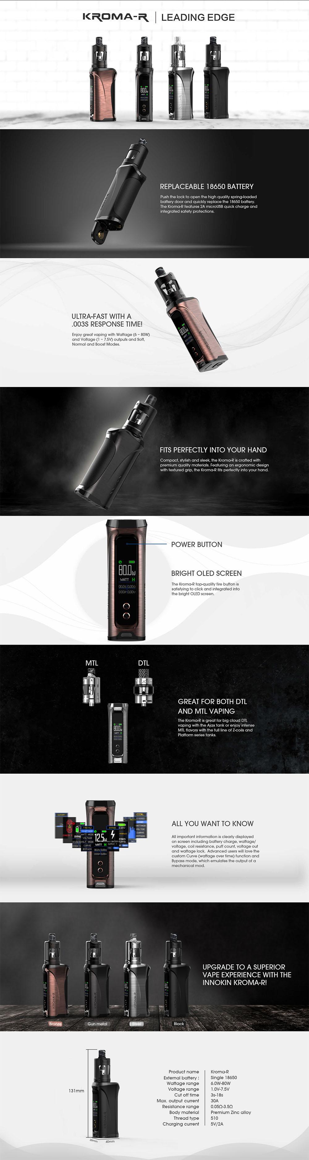 Innokin Kroma R 80W + Zlide 4ml Starter kit